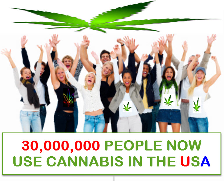 30 million people  use cannabis in the usa