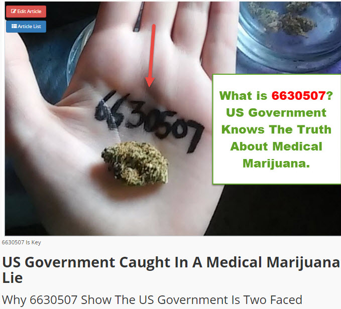 6630507 PATENT ON CANNABIS