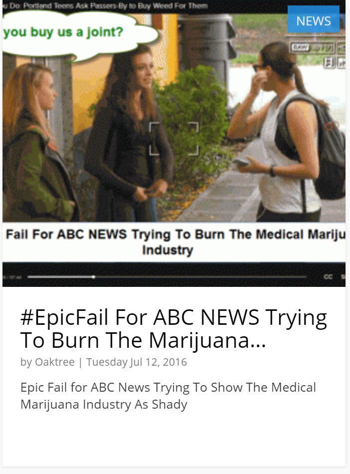 ABC NEWS ON CANNABIS DISPENSARY STING