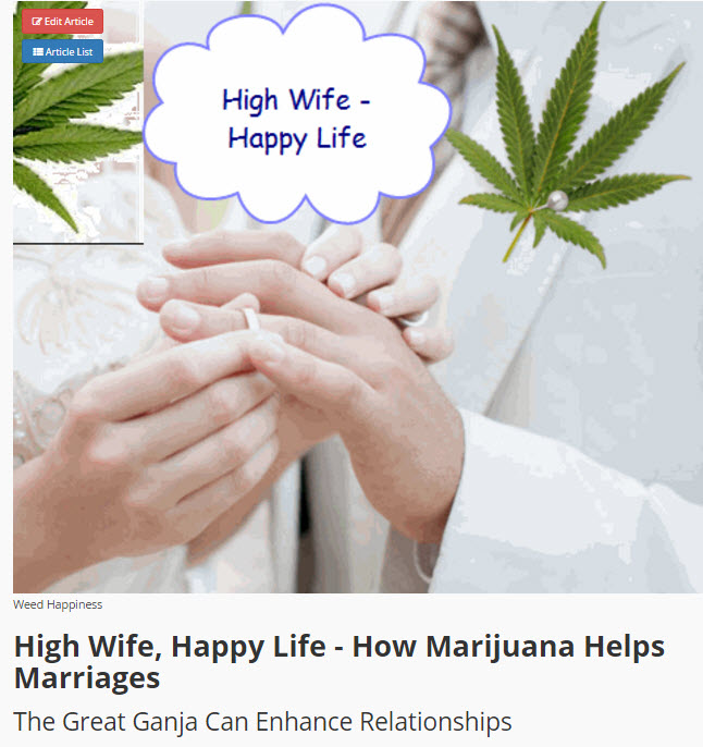 happy wife with cannabis