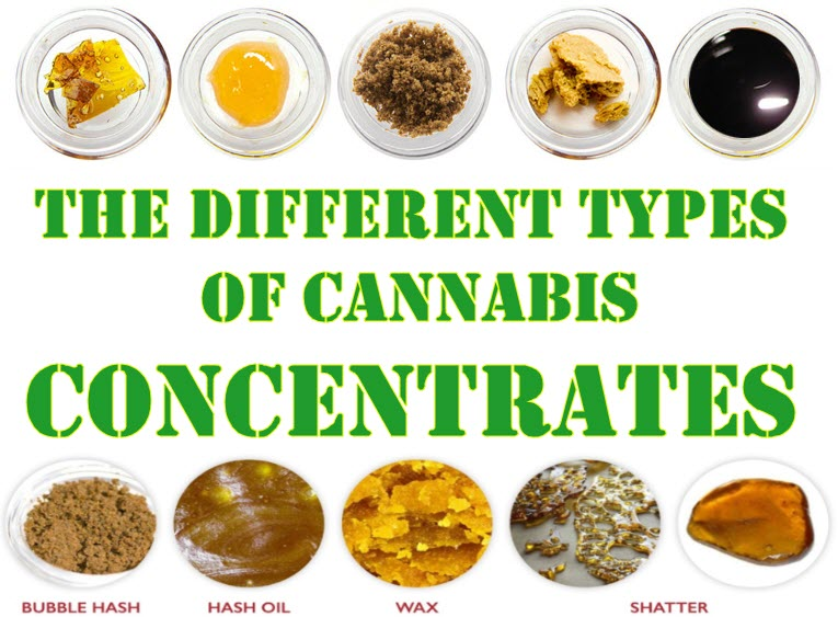 TYPES OF CANNABIS CONCENTRATES LIKE SHATTER, CRUMBLE, WAX