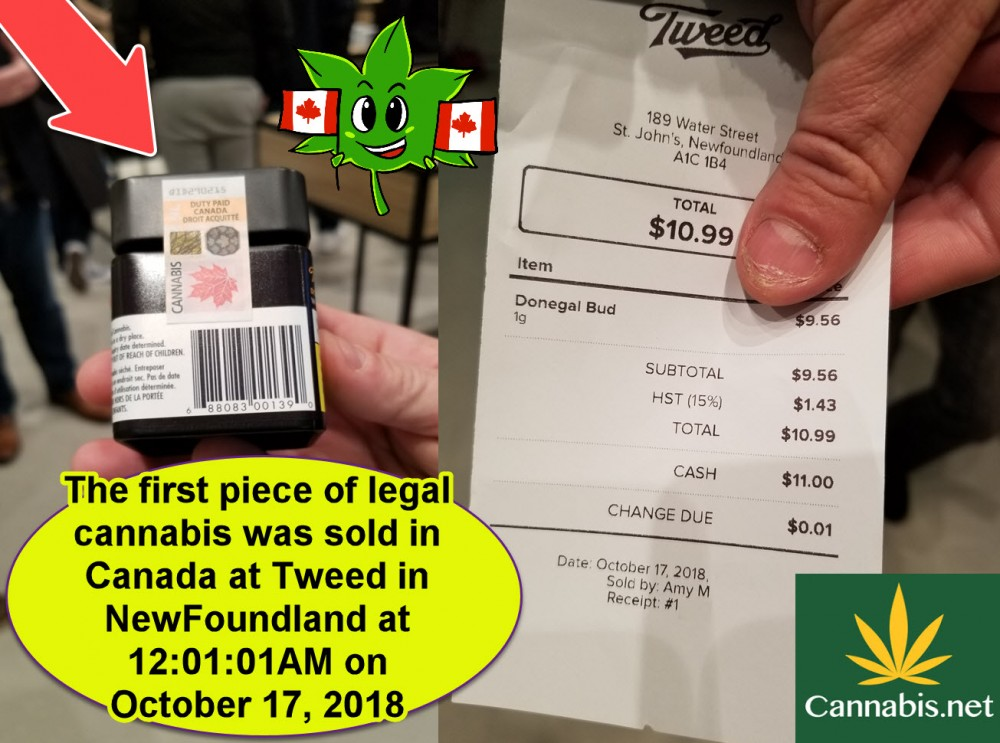 FIRST CANNABIS SALE IN CANADA