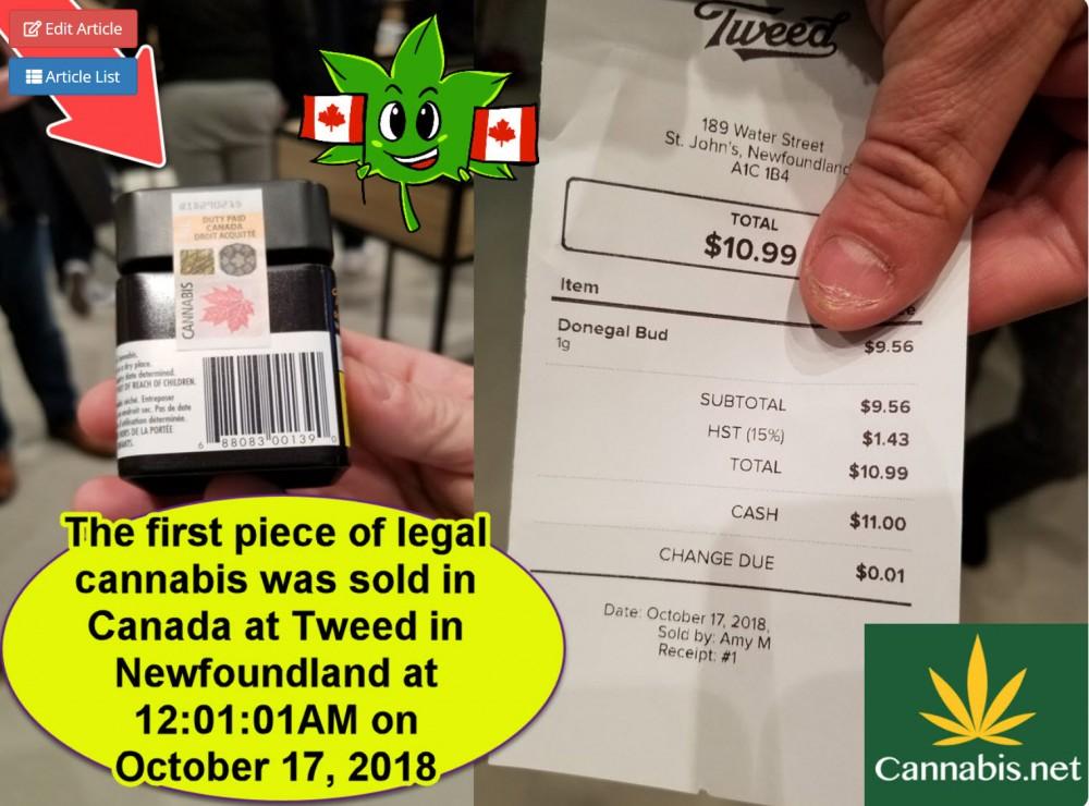recreational cannabis canada first sale