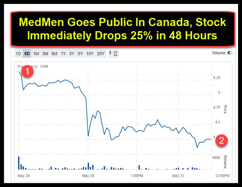 Medmen Goes Public In Canada Stock Immediately Drops 25 In 48 Hours