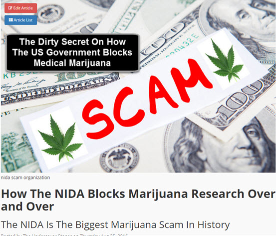 NIDA RESEARCH ON WEED