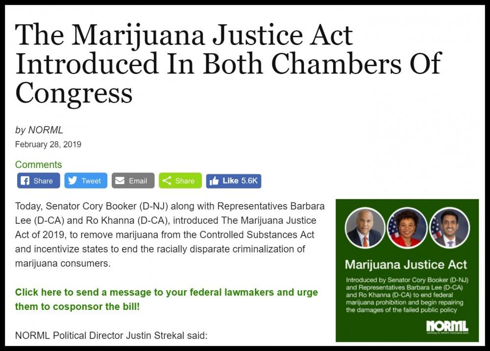 norml on marijuana justice act