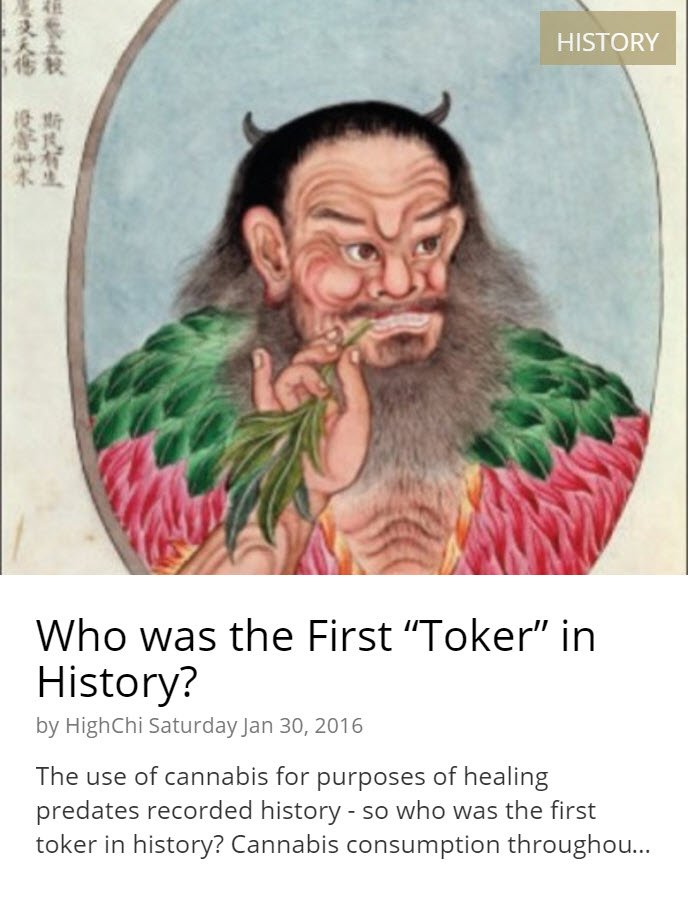 FIRST CANNABIS USER EVER